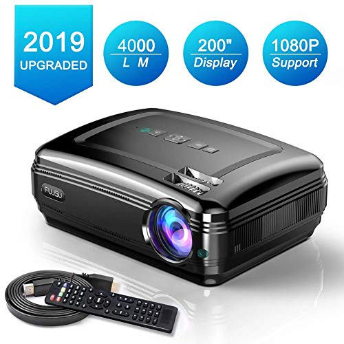 Video Projectors, FUJSU Overhead Projector 1080P Full HD Projector for Office and Business Presentation (black01)