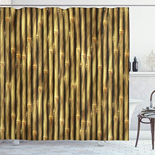 """Ambesonne Beige Shower Curtain, Tropical Bamboo Poles Woody Grass Tall Thin Harvest Natural Artprint, Cloth Fabric Bathroom Decor Set with Hooks, 70"""" Long, Yellow"""