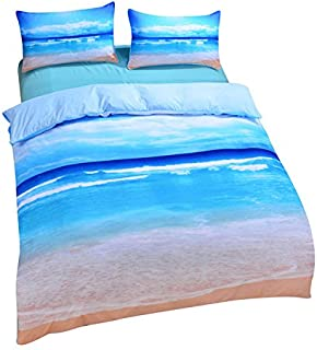 Sleepwish Ocean Bedding Beach Duvet Cover Hot 3D Print Sea Inspired Bedding with 2 Pillow Shams - Queen