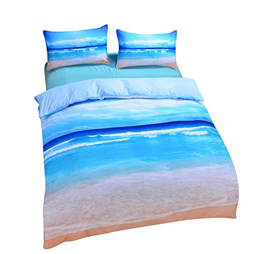 Sleepwish Ocean Bedding Beach Duvet Cover Hot 3D Print Sea Inspired Bedding with 2 Pillow Shams - Twin