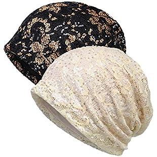 Welrog Chemo Hat Women Beanie Hat Lace Head Scarf Super Soft Slouchy Turban Headwear Head Wraps (one Size, SequinsBlack/Beige):Labuttanret