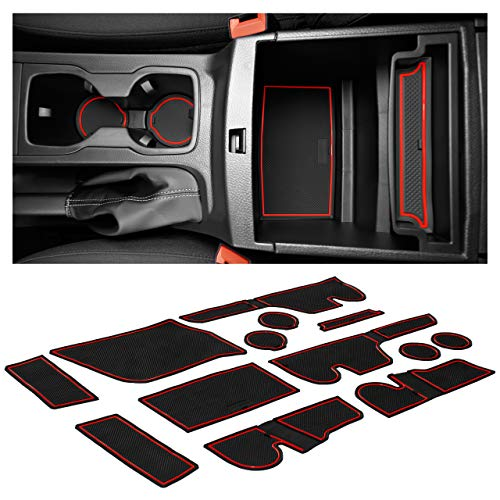 CupHolderHero for Ford Ranger Accessories 2019-2021 Interior Non-Slip Anti Dust Cup Holder Inserts, Center Console Liner Mats, Door Pocket Liners 13-pc Set (SuperCrew – 5 Passenger) (Red Trim)