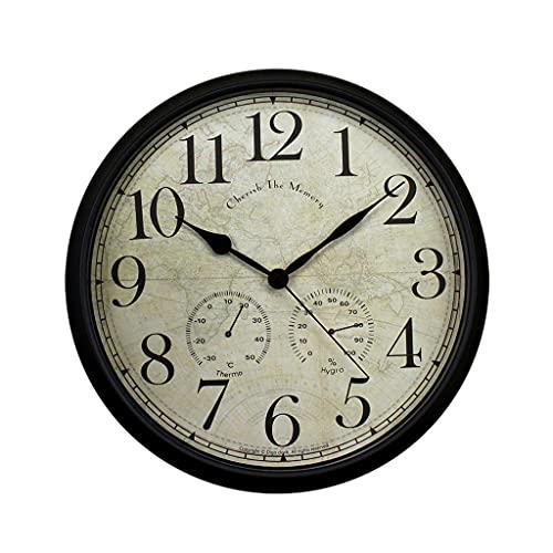 Aiglen Reloj de pared 15 pulgadas Metal Silent Non-Ticking Relojes Digital Dial Dial Dial con termómetro e higrómetro