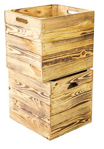 Kistenkolli Altes Land 2er Set Holzkiste passend für Kallax Regal und Expidit Regale Maße 33x37,5x32,5cm (Geflammt)