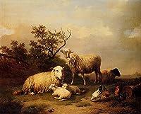 26 世界の名画 - ¥4K-150k 手書き-キャンバスの油絵 - アカデミックな画家直筆 - Belgium Verboeckhoven Eugene Sheep With Resting Lambs And Poultry In 風景画 - 絵画 洋画 複製画 -サイズ03