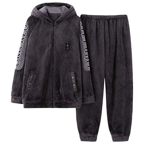 Pijama Hombre, Pijama Hombre Invierno Forro Polar, Ropa de Dormir Super Suave, Pantalon y Sudadera con Capucha, Regalos para Hombres Adolescentes