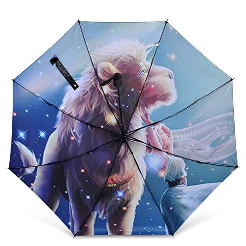 DORRISO Mujer Plegable Paraguas 12 Constelaciones Mini Paraguas y Sombrillas Antviento Anti-UV Impermeable Ligero Viaje Paraguas León