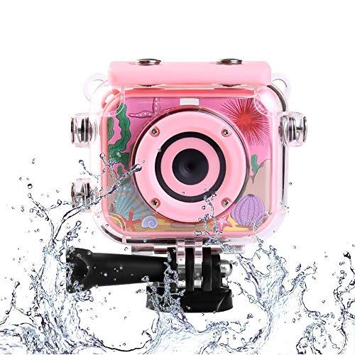 YunLone ToyZoom Action Cam per Bambini 1080P HD Macchina Fotografica Subacquea Action Camera per Bambine con Custodia Impermeabile IP68 e Kit Accessori - Rosa