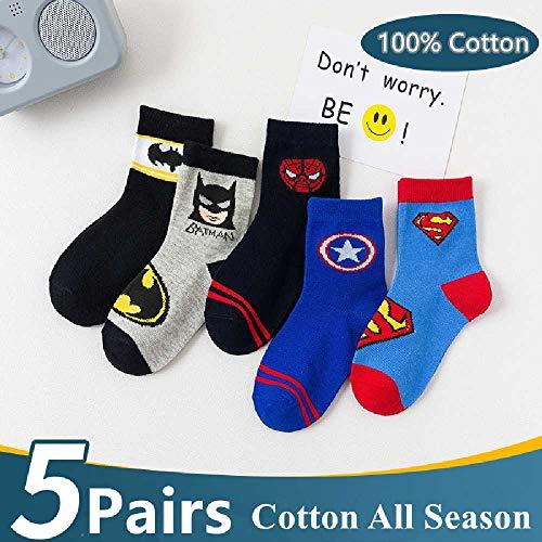 5 Paare/Lot 100% Baumwolle Kindersocken Frühling Atmungsaktive Cartoon Spiderman Superman Mode Baby Jungen Mädchen Socken Für 1-12 Jahre 4-6T / Red