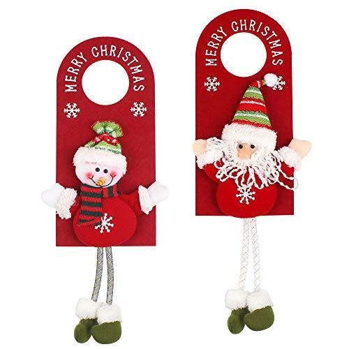 Ledoo Colgador de Puerta de Navidad 2 Piezas Colgantes de Puerta de Navidad, Decoraciones de Puerta de Navidad, Colgador de Puerta de Papá Noel para Puerta de Hotel, Perilla de Puerta