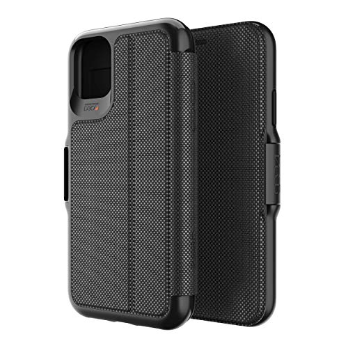 GEAR4 Oxford Eco Folio Compatible with iPhone 11 Pro Case, Recycled-Plastic Phone Cover, Advanced Impact Protection with Integrated D3O Technology, Booklet Case – Black