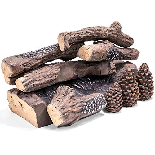 Barton Ceramic Wood Gas Fireplace Log Set for Ventless, Gas, Propane, Gas Insert, Vent-Free, Gel, Ethanol, Electric, Indoor, Outdoor Fireplaces and Fire Pits (9 PCS)