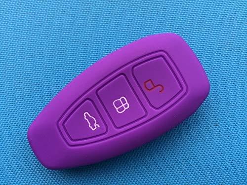 1 Pieza Nueva Funda de Silicona para Llave de Coche con 3 Botones para Ford Focus 3 MK3 Mondeo Fiesta Kuga Escape Ecosport 2013 2014 Estilo de Coche Inteligente púrpura