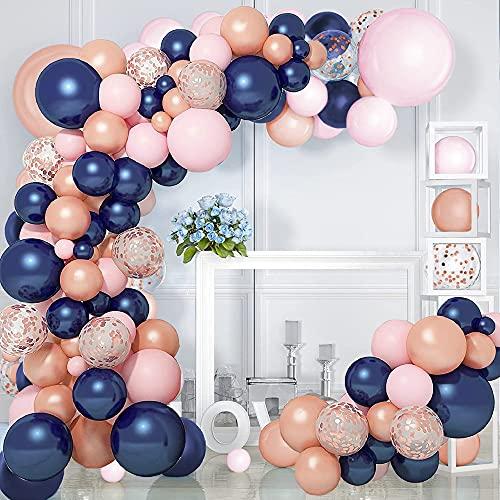 Kit Ghirlanda Palloncini Blu, Gender Reveal Party Kit, Baby Shower Decorazioni, Decorazione Festa Palloncini Oro Metallizzati Oro Rosa Blu per Baby Shower, Compleanno, Matrimonio