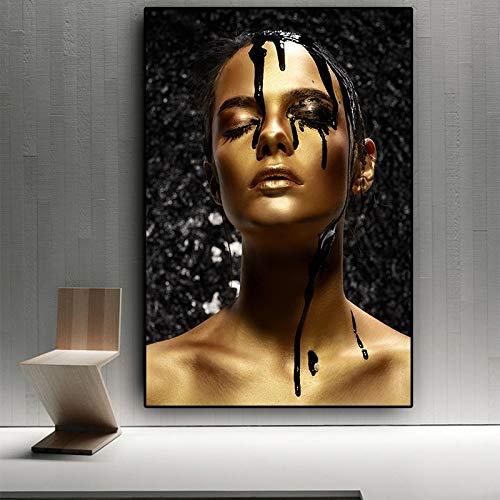 fancj Puzzle 1000 Stück 75x50cm3D Puzzle Schwarzgold nackte Afrikanerin OilonCuadros DIY Puzzle-Puzzle-Holz Erwachsene Kinder Puzzle