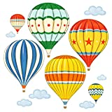 DECOWALL DA-1711 Colourful Hot Air Balloons Kids Wall Decals Wall Stickers Peel and Stick Removable Wall Stickers for Kids Nursery Bedroom Living Room