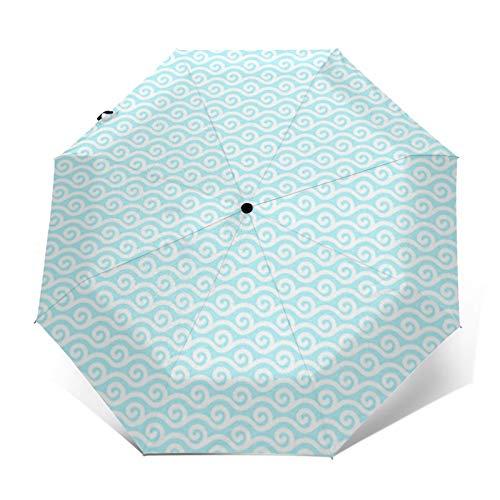Paraguas Plegable Automático Impermeable Clipart de Piscina de Olas de Agua de océano, Paraguas De Viaje Compacto a Prueba De Viento, Folding Umbrella, Dosel Reforzado, Mango Ergonómico