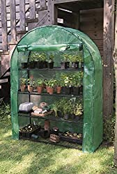 An efficient space saving design that's simple and easy to set up Strong steel frame with four wide tiered shelves for extra growing capacity Zipped roll up door Durable cover with internal Velcro fastenings to keep cover in place Push-fit frame, no ...