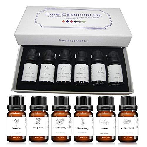 Aromatherapy Essential Oil Kit 10 ml x 6 huile essentielle d'extrait d'huile de plante - lavande, thé, romarin, citron, pepermint, orange douce