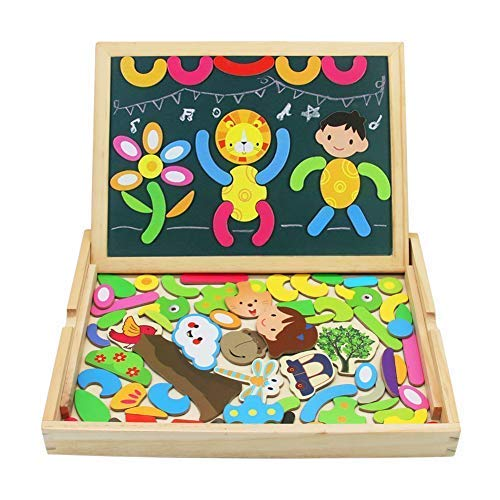TONZE Pizarra Magnetico Puzzles Infantiles Madera Tablero de Dibujo Doble Cara Rompecabezas Infantiles 3 Años +