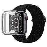 Wolait Compatible with Apple Watch Band 38mm 40mm 42mm 44mm, iWatch Series 6/5/4/3/2/1/SE Elastic Nylon Sport Band Loop Strap with Screen Protector Case for Women,Black, 38mm