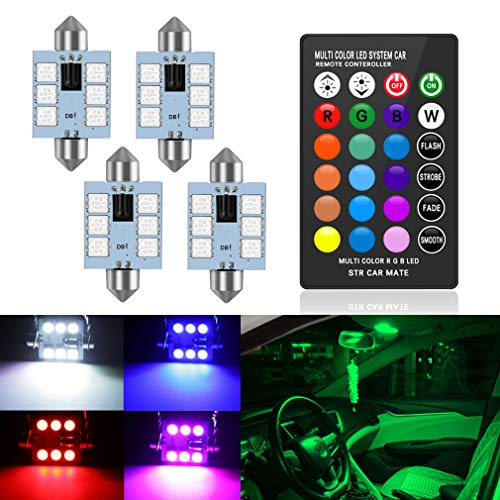 578 LED Bulb 41mm 42mm 1.65 Inches 212-2 211-2 Festoon LED Bulbs, 16 Colors Change RGB with Remote Control for Dome Map Door Courtesy Trunk License Plate Lights Lamps