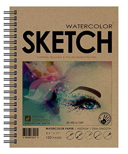 Design Ideation Brand Watercolor Sketchbook : Creative Project Book for Pencil, Ink, Marker, Charcoal and Watercolor Paints. Great for Art, Design and Education. (8.5' x 11')