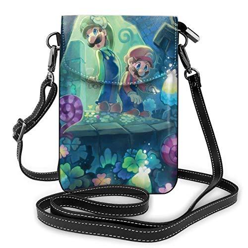 Super Smash Bros Mario Forest Leichte kleine Umhängetaschen Leder Handy Geldbörsen Reisetasche Umhängetasche Brieftasche für Frauen