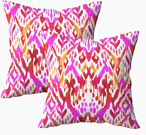 Fundas de almohada de cama, patrón tribal, acuarela, paleta roja, hermoso adorno con fugas, 45,7 x 45,7 cm, fundas de almohada, decoración del hogar, fundas de almohada con cremallera para sofá