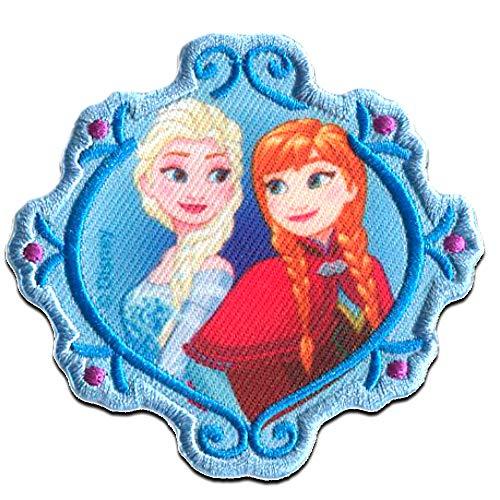 Aufnäher/Bügelbild - Disney Frozen Die Eiskönigin 'Elsa & Anna 2' - blau - 7,3x7cm - Patch Aufbügler Applikationen zum aufbügeln Applikation Patches Flicken