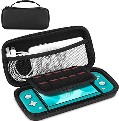 HQzon Carrying Case Compatible with Nintendo Switch Lite,Large Capacity Shockproof Protective Portable Soft Lining Hard Shell Travel Case(Black)
