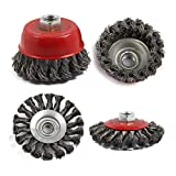 FYstar 4Pcs M14 Crew Twist Knot Wire Wheel Cup Brush Set para amoladoras angulares Metales de aleación Twisted Crimped Wire Brushes Kit (Rojo)
