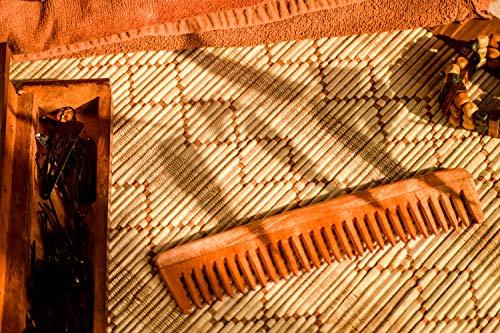 SVATV Peigne en bois de margousier fabriqué à la main N-76 (17,8 cm 4,3 cm)