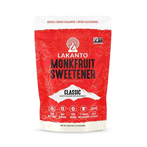 Lakanto Monkfruit Sweetener, 1:1 Sugar Substitute, Keto, Non-GMO (Classic White - 1.76 lbs)