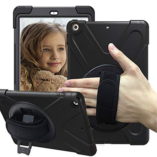 CCMAO iPad Case 6th Generation, iPad 9.7 2018 Case, [Hand Strap] 360 Degree Rotating with Kickstand Full-Body Impact Resistant Protective Case for Apple iPad 9.7 2018 A1893/A1954 (Black)