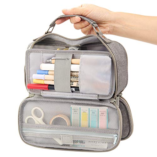 EASTHILL Big Capacity Pencil Case Stationery Storage Large Handheld Pen Pouch Bag Multiple Compartments Double Zipper Portable High School Organizer College Students Girl Boy Teen Unisex Adult-Gray