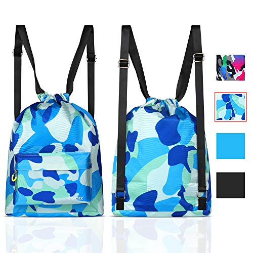 COPOZZ Waterproof Gym Swimming Drawstring Backpack, Lightweight Dry Wet Separated Swim Bag Gym, Beach & Outdoor Activities (Camouflage Blue Backpack)