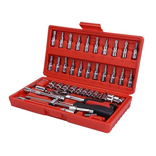 1/4 \'\' Schraubendreher-Set - 46-teilig verchromt 45# Stahl-Schraubendreher-Steckschlüsselsatz für die Fahrzeugreparatur
