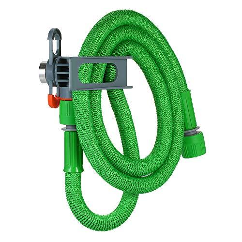 Reomam Home Clean Uitbreidbare waterslang, flexibele autowasinstallatie, bloemenirrigatie, 1,5 m waterleiding met 360 ° draaischarnier / 1,5 m waterleiding met slanghouder