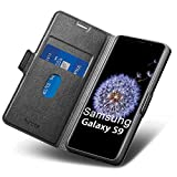 Aunote Samsung S9 Case Wallet, Samsung Galaxy S9 Leather Case, Slim Flip/Folio Galaxy S9 Case,Full Protective Cover with Card Holder, Samsung S9 Phone Case for Galaxie 5.8' Black