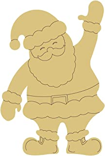 Santa Design by Lines Cutout 1 Item Per Pack Door Hanger Christmas Decor Holiday Unfinished Wood MDF Shape Canvas Style 1 Art 1 (12