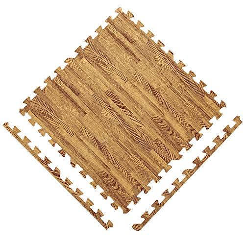 "Interlocking Schaum Fußmatten Puzzle Pad Kind Krabbeln Bodenschutz Soft Proof Holzmaserung 23.6 ""x23.6"" (Color : B, Size : 32pcs)"