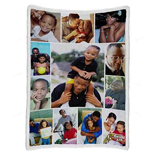 """Custom Throw Blanket with Photo Collages, Personalized Picture Printing Soft Flannel Blanket Thanksgiving Christmas Souvenirs and Gifts for Family Friends (12 Photo Collages, 50""""x70"""")"""