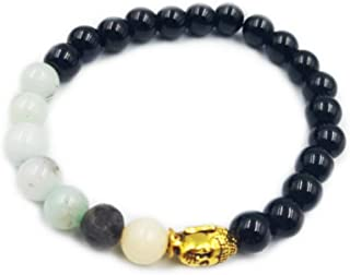 REBUY Amazonite Bracelet Throat and Heart Chakra Black Tourmaline Stone Healing Crystals Charm Bracelet for Men & Women 8 MM