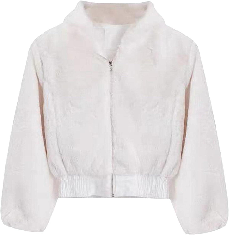 Womens Fashion Pure Color Long Sleeve Zipper Plush Casual Coat Crop Tops for Women Sexy Faux Fur Coat Jacket