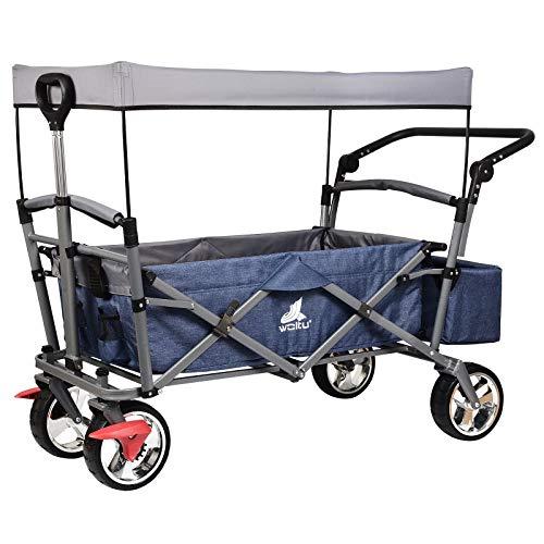 WOLTU® Bollerwagen faltbar Handwagen Strandwagen mit Dach, 4 Rollen mit Bremse, für den Garten Camping Kinder, 80 kg belastbar TW002blg
