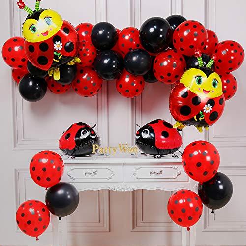 PartyWoo Ladybug Fiesta Globos, Globos Ladybug 39 Piezas Globos Rojos Globos Lunares Globos Negros y Globos Aluminio Globos Caminar para Ladybug Fiesta, Fiesta Cumpleaños, Bautismo Niña