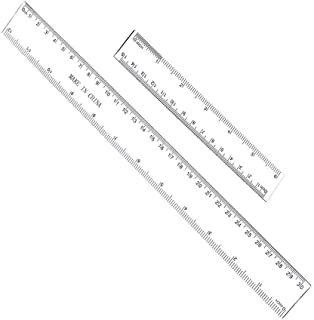 12 Inches & 6 Inches Plastic Straight Hard Ruler Viaky See Through Flexible Ruler with Inches and Metric Measuring Tool for Student School Office, Clear(2 Pack)