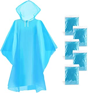 WodsWod Emergency Rain Ponchos Waterproof Disposable Rain Ponchos Premium Quality 50% Thicker 5 Pack for Theme Parks, Hiking, Camping, Sports Events and Outdoors
