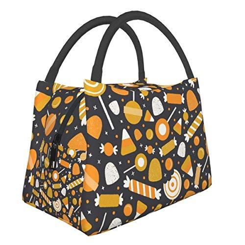 Bolsa de almuerzo con aislamiento de caramelo de Halloween, organizador reutilizable de la lonchera de la bolsa de asas del refrigerador de la oficina de la escuela del trabajo para